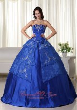 Puffy Royal Ball Gown Strapless Floor-length Organza Embroidery Quinceanera Dress