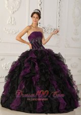 2013 Brand New Purple and Black Quinceanera Dress Strapless Taffeta and Organza Beading Ball Gown