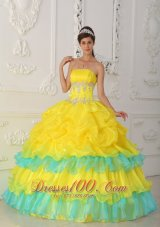 2013 Luxurious Yellow Quinceanera Dress Strapless Organza Beading and Ruffles Ball Gown