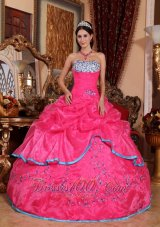 2013 Pretty Rose Pink Quinceanera Dress Strapless Organza Appliques Ball Gown