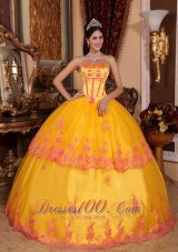 2013 Classical Yellow Quinceanera Dress Strapless Organza Lace Appliques Ball Gown