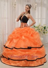 2013 Pretty Orange and Black Quinceanera Dress Strapless Satin and Organza Beading Ball Gown