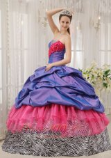 2013 Exclusive Quinceanera Dress Taffeta and Zebra Strapless Beading Ball Gown