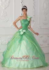 2013 Affordable Apple Green Sweet 16 Dress One Shoulder Organza Beading and Hand Flower Ball Gown