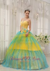 2013 Brand New Yellow and Blue Quinceanera Dress Strapless Tulle Beading and Ruch Ball Gown