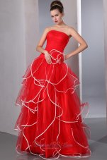 2013 2013 Red Strapless Ruffled Prom Dress with white hem