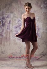 Modest Dark Purple Prom / Cocktail Dress A-line V-neck Chiffon Beading Mini-length