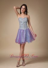 Colorful A-line Sweetheart Mini-length Leopard Fabric and Organza Prom / Homecoming Dress