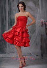 Red A-line Strapless Knee-length Ruffled Layers Taffeta Homecoming Dress