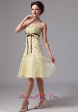 Light Yellow A-line Sash Knee-length Prom Dress For Prom Party In Alpharetta Georgia