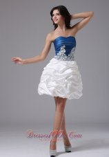 Blue and White With Appliques and Pick-ups For Prom Dress In Alameda California