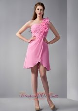 Pink Empire One Shoulder Mini-length Chiffon Hand Made Flowers Prom Dress