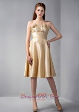Gold Empire Strapless Knee-length Elastic Woven Satin Ruch Prom Dress