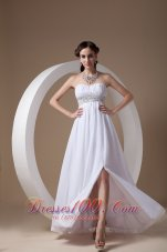 Simple White white Sweetheart Prom Dress Chiffon and Elastic Wove Satin