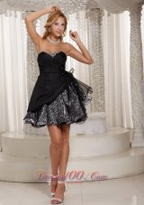 Black Custom Made Leopard Princess Beading 2013 Prom / Cocktail Dress With Sweetheart