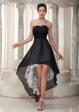 Black Empire Sweetheart High-low Chiffon and Lace Ruched Prom Dress