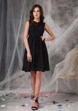 The Brand New Style Black Empire High-neck Little Black Dress Chiffon Lace Knee-length
