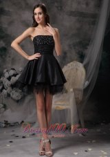 Beautiful A-line Strapless Little Black Dress Taffeta and Tulle Beading Mini-length