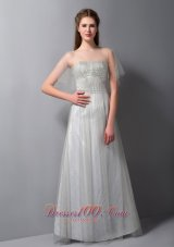 Customize Gray A-line Strapless Beading Bridesmaid Dress Floor-length Tulle and Taffeta