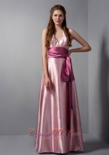 Customize Pink Column V-neck Sash Bridesmaid Dress Floor-length Elastic Woven Satin