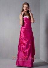 Gorgeous Hot Pink Column Strapless Appliques Bridesmaid Dress Floor-length Taffeta