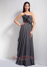 Modest Dark Grey Empire Strapless Homecoming Dress Chiffon Hand Made Flowers Floor-length