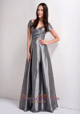 Modest Grey A-line Mother Of The Brides Dress V-neck Ruch Floor-legnth Taffeta
