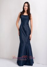 Beautiful Navy Blue Mermaid Scoop Bridesmaid Dress Floor-legnth Taffeta