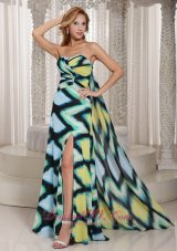 Multi-color Printing Chiffon High Slit Watteau Train Sweetheart Prom Dress