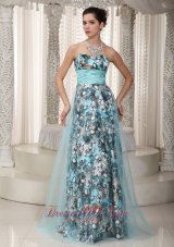 Brand New Empire Sweetheart Floor-length Print and Tulle Ruched Prom Dress