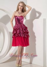 Custom Made Hot Pink Column Cocktail Dress Sweetheart Chiffon and Sequin Knee-length