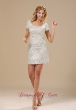 Paillette Over Skirt Mini-length Scoop Short Sleeves Sexy Style 2013 Prom Celebrity Dress