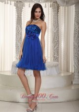Royal Blue Empire Strapless Mini-length Organza and Sequin Bowknot Prom / Homecoming Dress