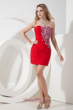 Red Column / Sheath Strapless Beading Short Prom Dress Mini-length Chiffon