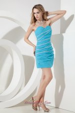 Aqua Column / Sheath Sweetheart Beading Short Prom Dress Mini-length Chiffon