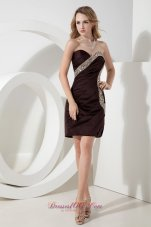 Brown Column / Sheath Sweetheart Beading Short Prom Dress Mini-length Satin