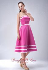Hot Pink and White A-line / Princess StraplessTea-length Satin Bridesmaid Dress  Dama Dresses