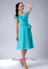 Popular Turquiose Blue Empire V-neck Bridesmaid Dress Chiffon Sash Tea-length  Dama Dresses