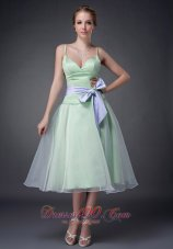 Sweet Apple Green A-line Straps Mother Of The Bride Dress Tea-length Organza Bowknot  Dama Dresses