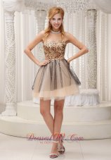 Lovely Leopard and Tulle 2013 Prom / Cocktail Dress For Party Beaded Decorate Sweetheart Neckline Mini-length  Dama Dresses