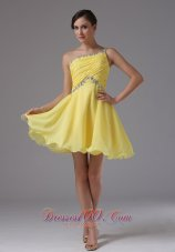 Custom Made One Shoulder and Yellow For Prom Dress With Ruched and Beading In Bear Valley California  Dama Dresses