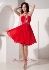 The Super Hot Red Empire Cocktail Dress Straps Chiffon Beading Mini-length  Dama Dresses
