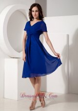 Elegant Royal Blue Mother of the Bride Dress Empire V-neck Chiffon Ruched Knee-length  Dama Dresses