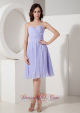 Custom Made Lilac Cocktail Dress Empire Sweetheart Chiffon Pleated Knee-length  Dama Dresses