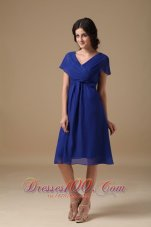 Beautiful Royal Blue Mother of the Bride Dress A-line V-neck Chiffon Ruch Knee-length  Dama Dresses