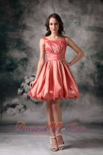 The most Popular Watermelon Red Cocktail Dress A-line Jewel Taffeta Mini-length  Dama Dresses