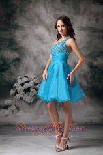 Aqua Blue A-line One Shouleder Mini-length Organza Beading Prom / Homecoming Dress  Dama Dresses