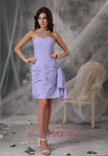 Beautiful Lilac Column Sweetheart Homecoming Dress Chiffon Beading Ruch Handkerchief Beaded Decorate Sweetheart Dama Dress Lilac  Dama Dresses