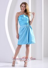 Aqua Blue Hand Made Flower and Ruch Bridesmaid Dress Knee-length A-line Taffeta  Dama Dresses