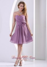 Customize Sweetheart Hand Made Flower and Ruch Bridesmaid Dress Dark Purple Chiffon  Dama Dresses